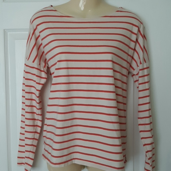 Old Navy Tops - Old navy coral striped 100% cotton long sleeve M